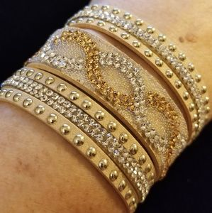 Jewelry - Gorgeous Suede Leather Crystal Studded Bracelet